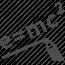 e = mc2, education, formula, pencil, science, theory of relativity icon