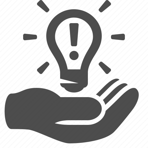 hand, holding, idea, invention, light bulb, lightbulb, patent icon