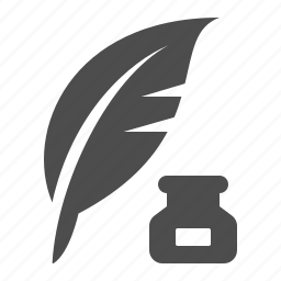 feather, ink bottle, quill, writing icon