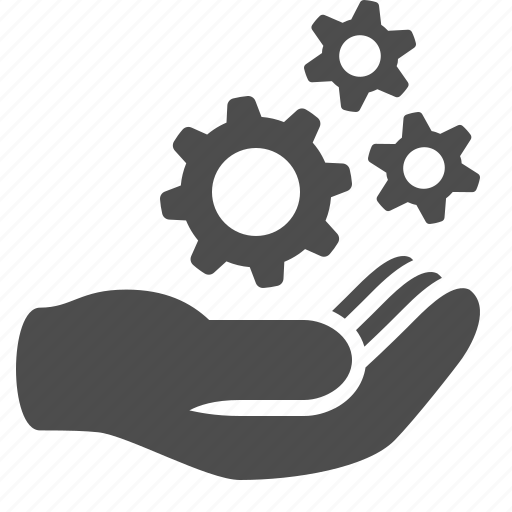 brainstorming, cogs, creativity, gears, hand, idea icon