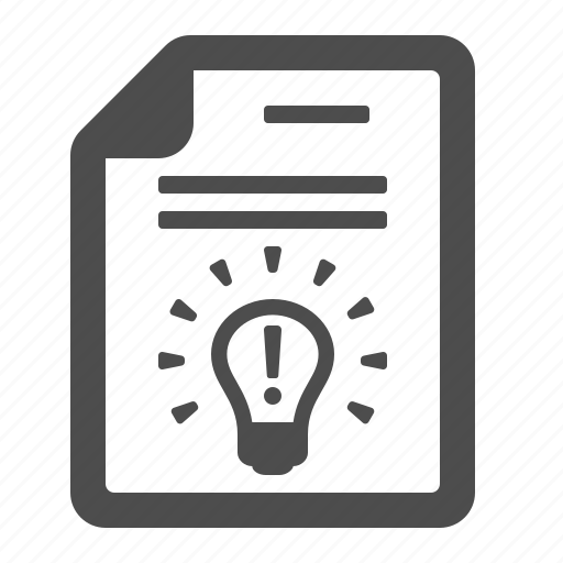 certificate, contract, document, idea, light bulb, lightbulb, patent icon