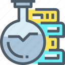 book, chemistry, education, flasks, laboratory, science icon