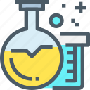 chemistry, education, flasks, laboratory, science icon