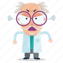 angry, emoji, emoticon, man, scientist, sticker icon