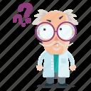 emoji, emoticon, man, question, scientist, sticker icon