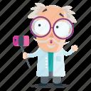 emoji, emoticon, man, scientist, selfie, sticker icon