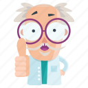 emoticon, up, thumbs, emoji, man, scientist, sticker