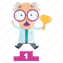 emoji, emoticon, man, scientist, sticker, trophy, winner icon