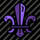 cultures, de, fleur, lis, scout, symbol icon