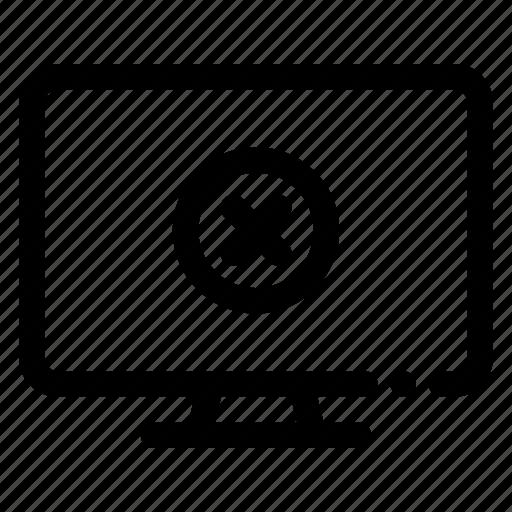 cross, pc, screen, tv icon