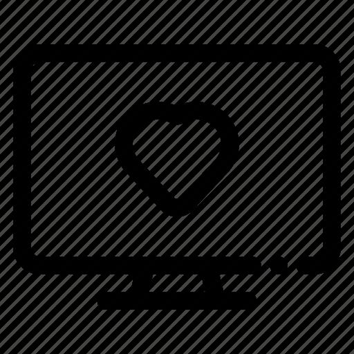 heart, like, pc, screen, tv icon