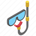 dive goggles, diving equipment, diving mask, scuba mask, snorkel icon