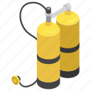 diving tank, gas bottle, gas tank, oxygen cylinder, oxygen storage icon