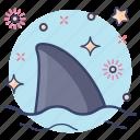 aquatic animal, marine animal, sea creature, shark, shark tail icon