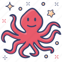 aquatic animal, cephalopod, devilfish, octopus, sea creature icon