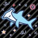 aquatic animal, hammerhead, marine animal, sea creature, shark, sphyrnidae icon