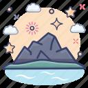 seaside, tropical area, beach, isle, beachside, island icon