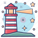beacon light, lighthome, lighthouse, lightship, watch tower icon