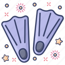 fins, flippers, footwear, silifins, swimming accessory icon