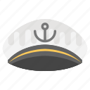 captain cap, navy captain hat, ship captain cap, yacht captain cap icon