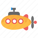 funny submarine, submarine, submarine ship, submarine with periscope, underwater ship icon