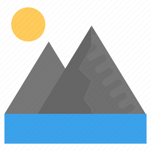 hilly landscape, landscape, natural scenery, sun with peaks, winter scene icon