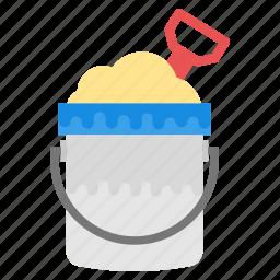 beach spade, beach toys, bucket and spade, sand bucket, sand pail icon