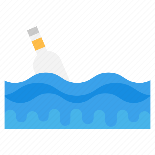 bottle on wave, floating bottle, message bottle, sea bottle, summer bottle icon