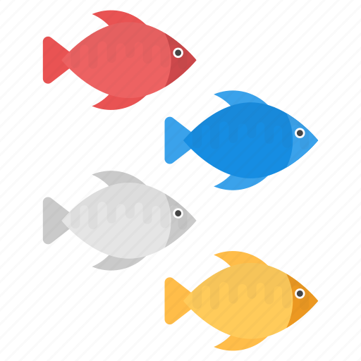cartoon fishes, colored fishes, fishes, tropical fishes icon