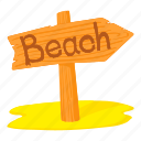 beach, beach pointer, cartoon, holiday, sand, tourism, vacation icon