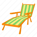 beach, cartoon, chair, chaise, deck, outdoor, recliner icon