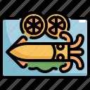 cooking, food, lemon, meal, seafood, squid