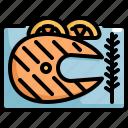 cooking, fish, food, lemon, meal, seafood, steak