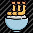 cooking, food, fried, rice, seafood, shrimp, tempura