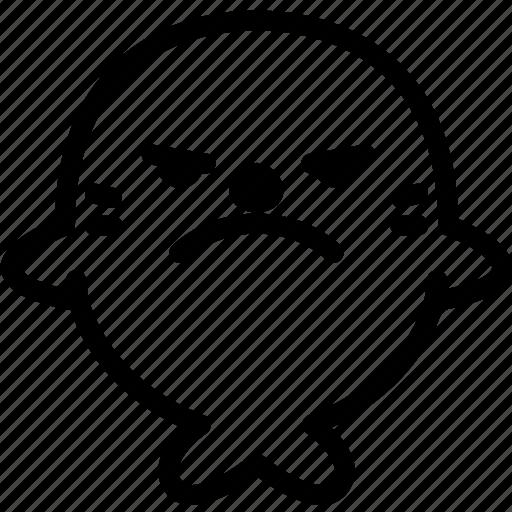 emoji, emotion, expression, face, feeling, mad, seal icon
