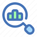 analytics, bar, chart, find, graph, search icon