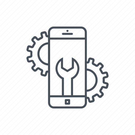 broken phone, gear, mobile development, mobile phone, technical service, tool icon