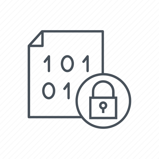 binary, code, data, document, encrypt, lock, security icon