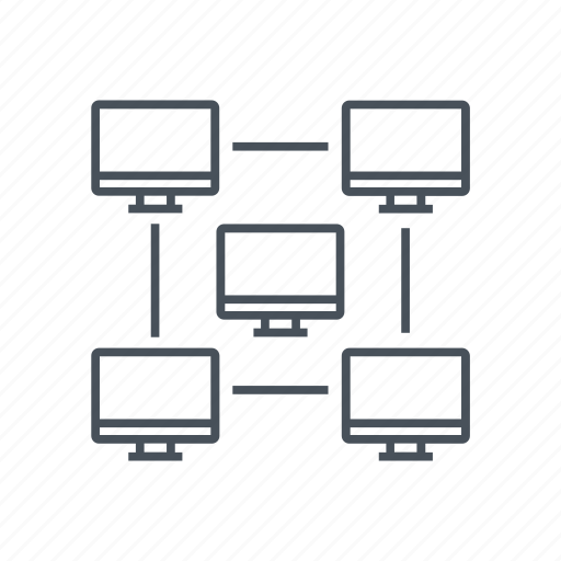 computer, connected, network icon, office, wi-fi, wireframe icon