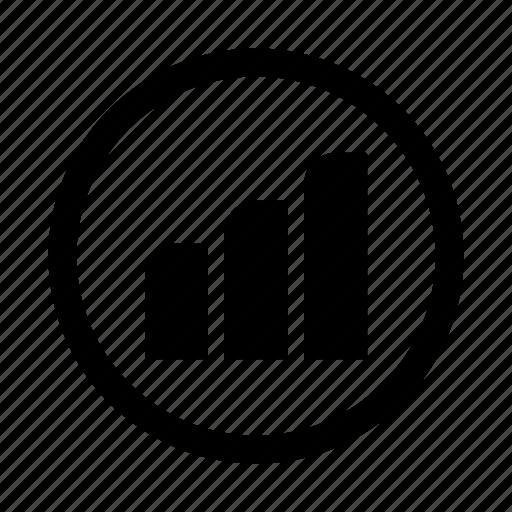 bars, circle, graph, seo icon