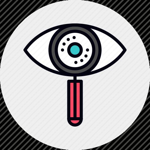 eye, magnifier, process, search icon