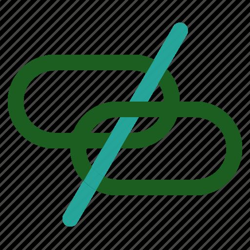 Link, broken, marketing, networking, online icon
