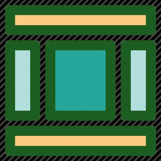 column, layout, marketing, networking, online, three icon