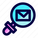 exploration, find, letter, mail, message, search icon