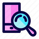 exploration, find, handphone, loupe, mobile, search icon