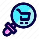 cart, exploration, find, loupe, search, shop icon
