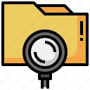 folder, loupe, storage, archive, magnifying, glass, search
