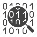 code, database, find, magnifier, search, zoom icon