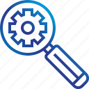 gear, glass, magnifying, search, zoom icon