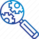 gears, glass, magnifying, search, zoom icon